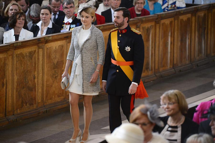 Guilherme do Luxemburgo e Stephanie de Lannoy - Batizado da princesa Estelle da Suécia Foto: Reuters