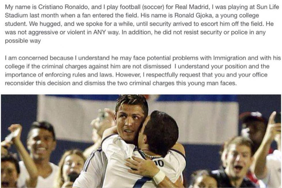 A carta de Ronaldo